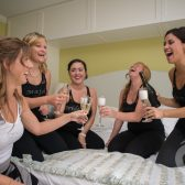 Bridesmaids Prep with Champagne