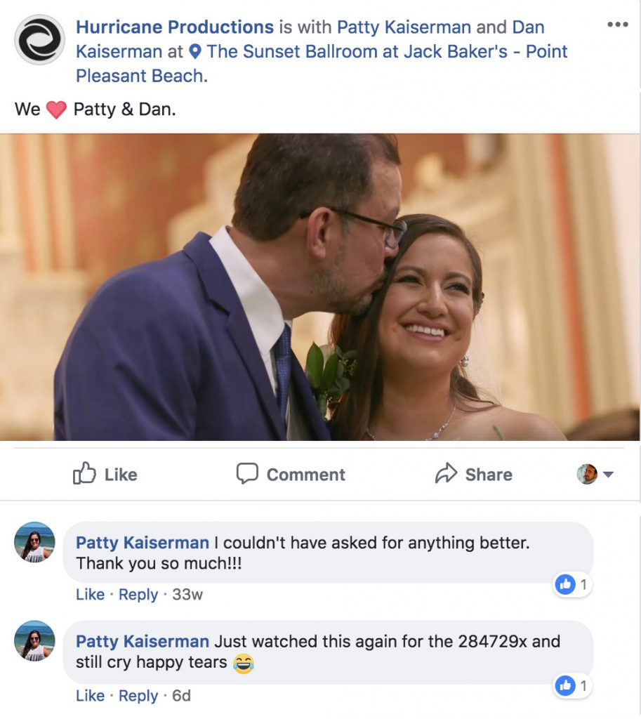 Patty and Dan Wedding Video - Comment on Facebook