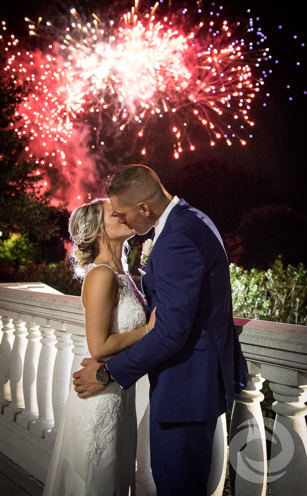 Wedding Kiss Photo With Fireworks Overhead