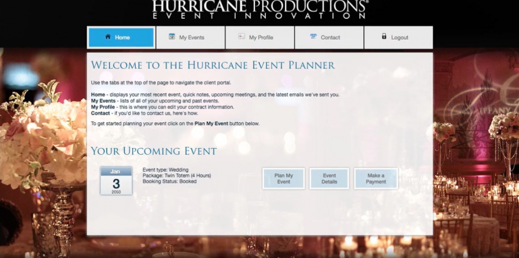 hurricane productions online event planner screenshot