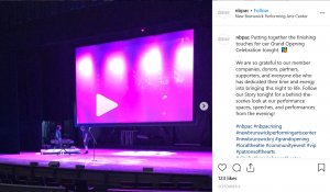 nbpac grand opening instagram post screenshot