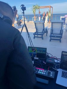 live streamed waterfront wedding ceremony